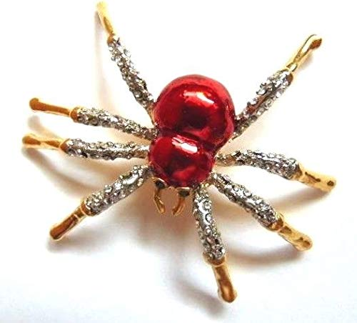Ruby Red Spider Pin Web Rhinestone Crystal Bug Insect Old Stock Halloween Pin Brooches for ()