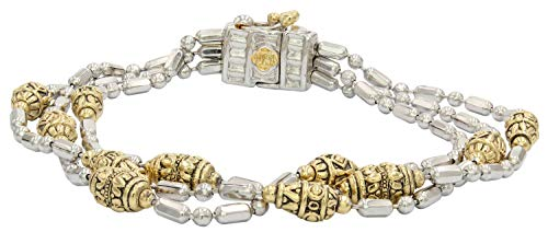 (John Medeiros Two-Tone Triple Strand Beaded Collection Bracelet with Handcrafted Charms Made in America)