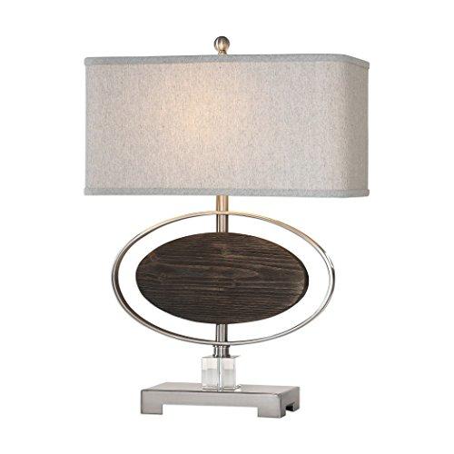(Suspended Oval Wood Metal Silver Table Lamp   Modern Espresso Nickel)