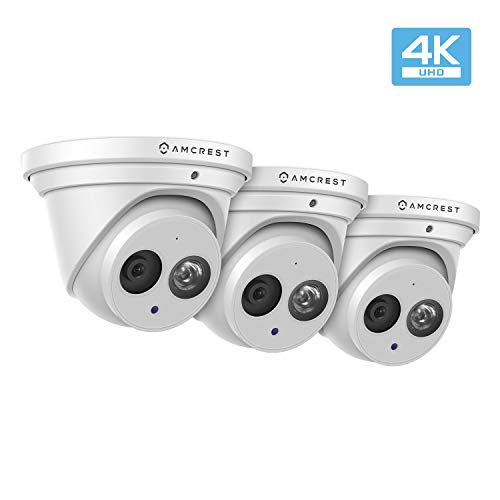 Amcrest 3-Pack UltraHD 4K (8MP) Outdoor Security IP Turret PoE Camera, 3840×2160, 164ft NightVision, 2.8mm Lens, IP67 Weatherproof, MicroSD Recording (128GB), White (3PACK-IP8M-T2499EW)