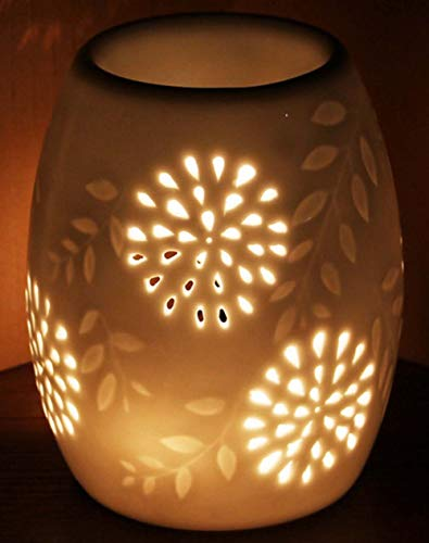Mayco Bell Ceramic Tealight Holder Essential Oil Burner Aromatherapy Wax Candle Tart Burner Warmer Diffuser Aroma Candle Warmers Porcelain Decoration for Parlor Bedroom Carved Star Shape (1002)