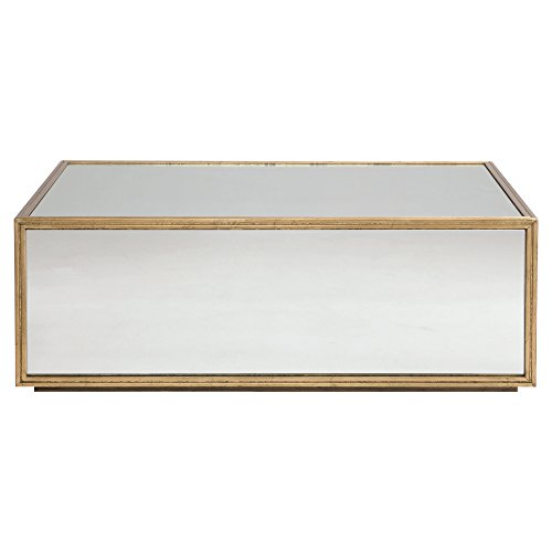 Crawford Mirrored Gold Regency Block Coffee Table