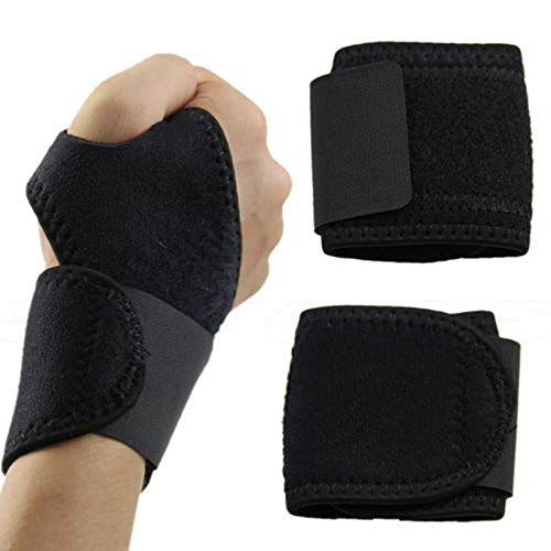 Wrist Guard Band Brace Support Carpal Tunnel Sprains Strain Gym Strap Black from Boocean