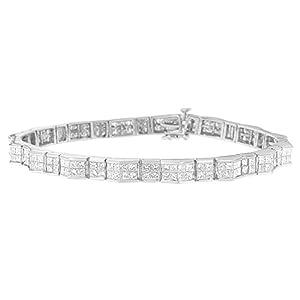 14KT White Gold Princess Cut Diamond Fan-Shaped Bracelet (2.25 cttw, H-I Color, SI1-SI2 Clarity)