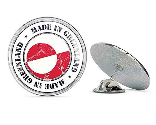 TG Graphics Made in Greenland Grunge Flag Stamp Art Round Metal Lapel Pins Cute Cool Hat Shirt Pin Tie Tack Pinback