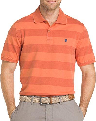 IZOD Mens Sportflex Striped Performance Polo Shirt X-Large Arabesque orange (Izod Striped Polo Shirt)