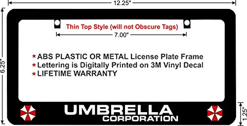 Resident Evil Umbrella Corporation Custom License Plate Frame (ABS Plastic Frame, Qty - Umbrella Plate License