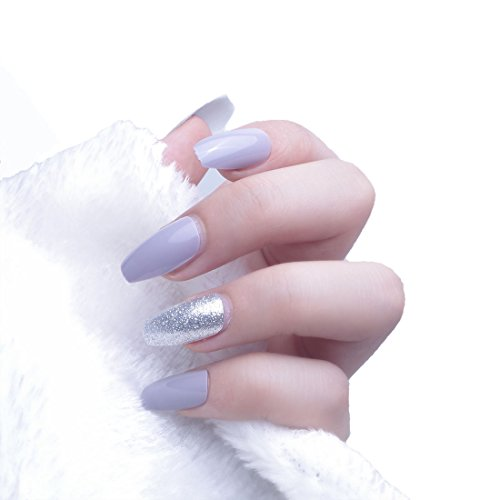 24pcs 12 Different Size Coffin Elegant Silver Glitter Solid Grey Long Full Cover False Nails with (Adult Elegant Coffin)