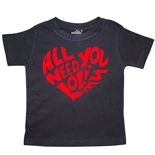 Price comparison product image inktastic Need Is Love Red Heart Shape Toddler T-Shirt 2T Black