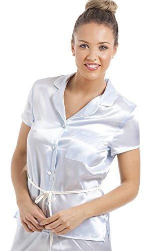 Camille - Conjunto de pijama satinado para mujer - Camisa de manga corta con cinturón - Azul claro Azul claro