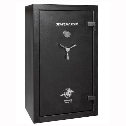 Winchester R31 Ranger Deluxe 1 Hour Fire / 30 Gun Safe - R31- Black - Group II UL Listed S&G Mechanical Lock Standard - Door Panel Organization Included - 1 Hour 1400 Degree Rating - Three Layers Of 1/2 Inch Fireboard In The Door - Palusol Heat Expandable Door Seal - UL Listed For Burglary - 12 Gauge Body Construction