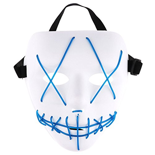 iEFiEL Adults EL Wire Glow LED Light up Mask Scary Accessory for Halloween Cosplay Festival Parties (Steady/Slow/Fast Flash) White&Blue One -