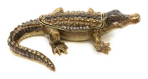 Kubla Craft Enameled Alligator Trinket Box, Accented with Austrian Crystals, 4.25 inches Long (Alligator Box)