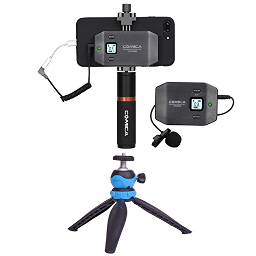 COMICA CVM-WS50(B) Mobile Professional Smartphone Microphone Lavalier Wireless System 6-Channels with Built-in Smartphone Holder+ Flexible Combination with Control Grip+Tripod
