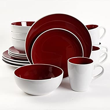 Gibson Home Chicstone 16 Piece Dinnerware Set, Red/White