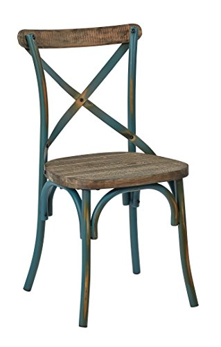 Office Star Somerset X-Back Metal Chair with Hardwood Rustic Walnut Seat Finish, Antique Turquoise