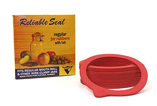 (Viceroy Reliable Seal Canning Jar Seals, Fits Clamp-Down Regular Mouth Jars, Pure Natural Rubber Rings, Red, with Tab, 12 Rings per Box (Pack of 1))