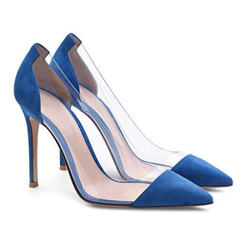 Singole Donna made Casual Semplici Tacchi A Blue Camoscio Hand Ragazze Spillo Scarpe aaqrvxU