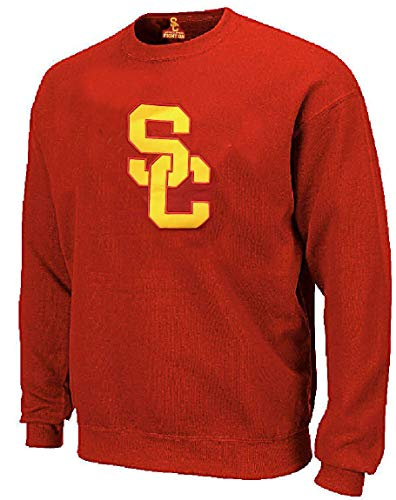 289c apparel USC Trojans Mens Crimson SC Interlock Embroidered Crewneck Sweatshirt (X-Large)