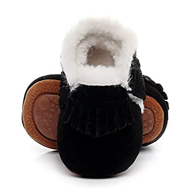 "Winter Suede Fleece Lined Rubber Soles Non Slip Warm Baby Boots Girls Boys Moccasins With Fur Hard Sole Baby Shoes (0-6m/4.53"", black)"