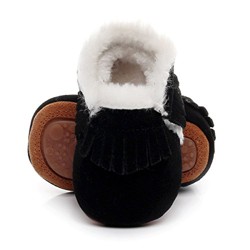 Winter Suede Fleece Lined Rubber Soles Non Slip Warm Baby Boots Girls Boys Moccasins with Fur Hard Sole Baby Shoes (12-18m/5.31