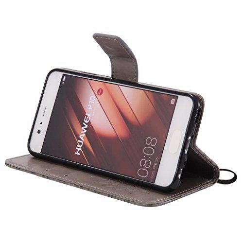 Yiizy Huawei P10 Custodia Cover, Sole Petali Design Sottile Flip Portafoglio PU Pelle Cuoio Copertura Shell Case Slot Schede Cavalletto Stile Libro Bumper Protettivo Borsa (Grigio)