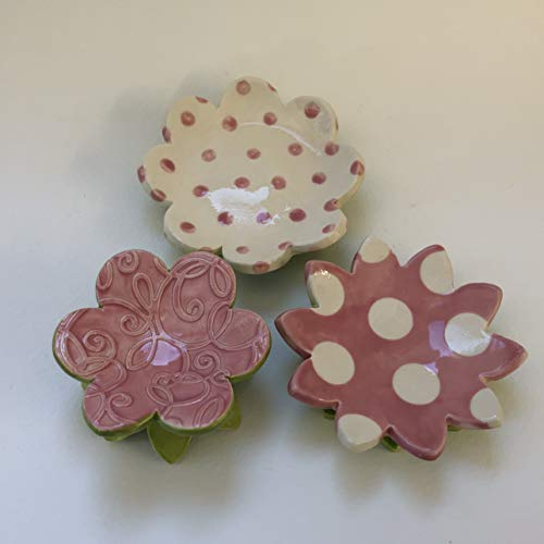 - pretty pink pottery Flowers - ceramic set of 3