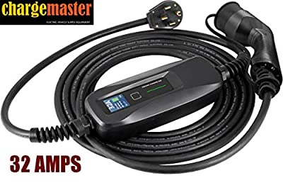 ChargeMaster Level 2 EV Charger 240V, NEMA 14-50, 25ft Cable. Portable EVSE (Electric Vehicle Charging Station). J1772 Adapter Compatible with Majority of Electric Cars and Plug-in Vehicles; 32 AMPS