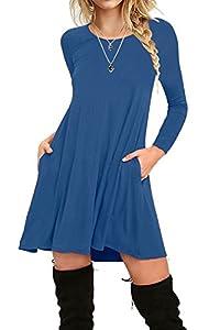 I2CRAZY Women's Long Sleeve Pockets Casual Plain T-Shirt Loose Dresses(04-Long Sleeve-Royal Blue,M)