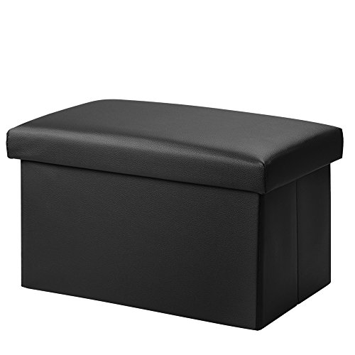 Foldable Leather Storage Ottoman Bench Footrest Stool, Coffee Table Cube For Home, Office, Garden, Traveling, 18