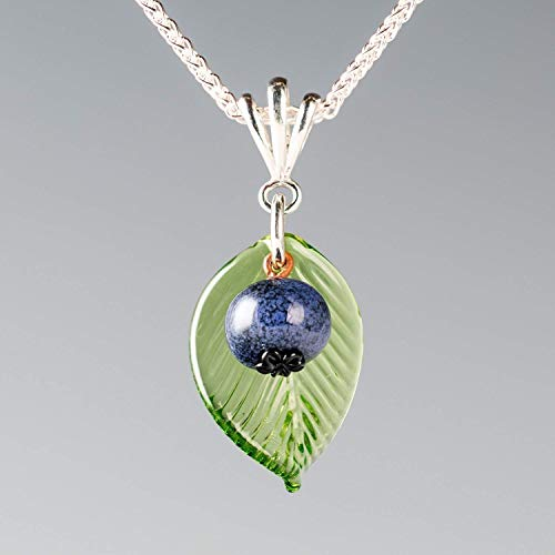 Miscarriage Jewelry Gift 7 Weeks, Glass Blueberry Necklace with Medium Size Pendant on 18