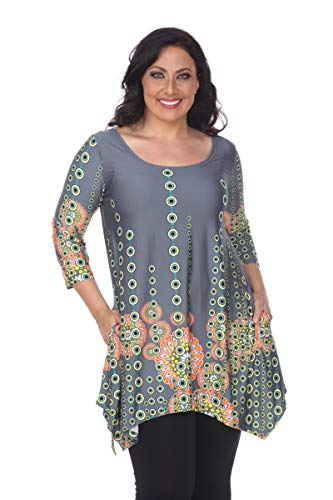 White Mark Rella Tunic Top with Side Pockets & Shark Bite Hemline in Grey - 3X from White Mark