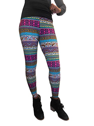 Just One Women's Seamless Plus Size Printed Leggings (Fuchsia, 3X)