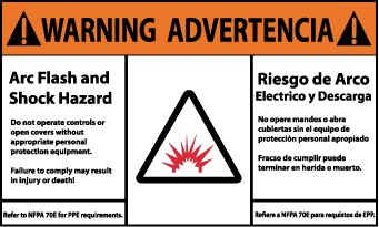 Bilingual Hazard Warning Labels (Warning, Arc Flash And Shock Hazard, Bilingual, (Graphic), 3X5, Adhesive Vinyl, 5/Pk)
