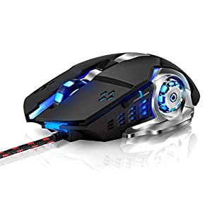 Rimposky Laser Gaming Mouse Wired with 6 Programable Buttons, 4 Color Cycle Breathing, High Precision Metal Base, Used for Games and Office (Black)