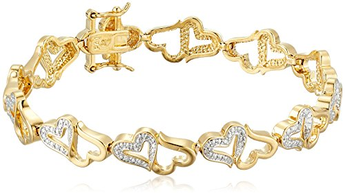 18k Gold Plated Bronze Diamond Accent Open Heart Bracelet, 7.25