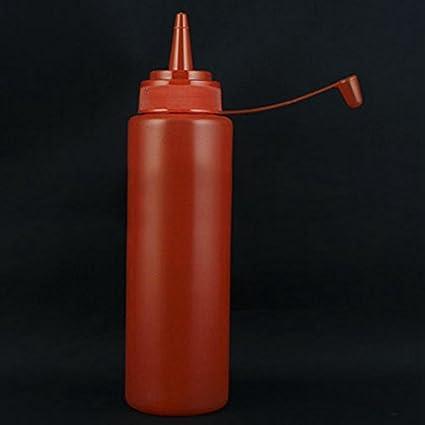 Generic 8oz plástico Squeeze botella condimento dispensador Salsa Vinagre Aceite de salero y pimentero Ketchup rojo