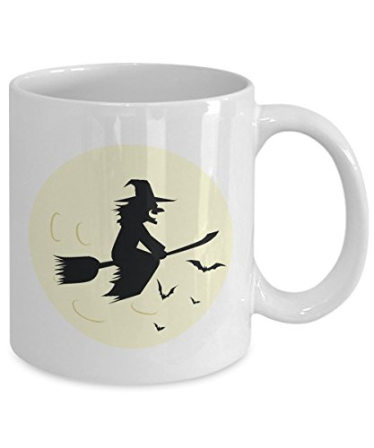 Women Witch Flying Halloween Coffee Mug (15oz, White)