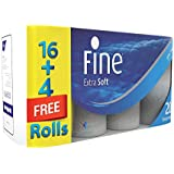 FINE Extra Soft Toilet Tissue Rolls - Pack of 20 Rolls, 200 Sheets x 2 Ply