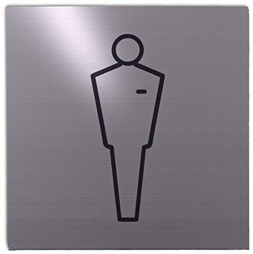 Xaptovi Targhetta adesiva targa, PITTOGRAMMI: WC UOMINI, segno WC UOMINI | 125x125mm | Garanzia di 5 anni | acciaio inossidabile | autoadesivo | piatto segno | Porta segnaletica