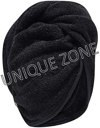 UNIQUE ZONE 100% algodón turbante toalla de pelo, gorro de toalla de pelo seco con bucle y cierre de botón, absorbente y seco rápido para mujeres ...