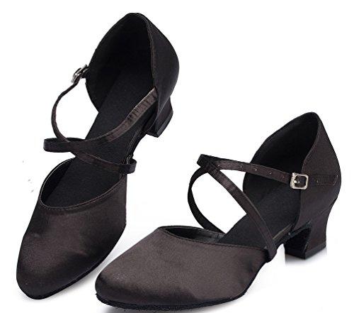 Abby Womens Comfort Practice Beginner Comfort Blokhak Professionele Satijnen Dansschoenen Zwart
