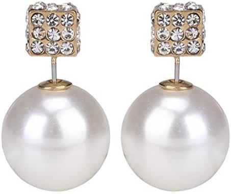 Eyourlife Fashion Womens Lady Earring Double Side Pearl Crystal Ear Studs Earrings Shiny White