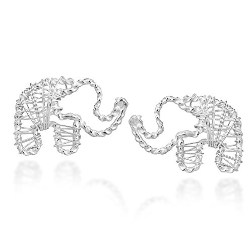 Artsy Wireworks Elephant .925 Sterling Silver Stud ()