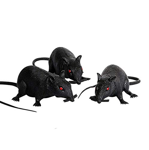 - WAQIA HOME Set of 3 Plastic Squeezable Squeaking Rats Spooky Scary Creepy