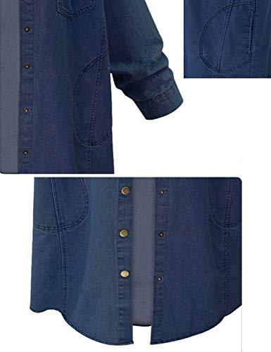 Innifer Women's Casual Long Denim Coat with Hood Long Sleeve Windbreaker Plus Size Jean Jacket Outwear by Innifer (Image #7)