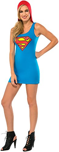Rubie's Costume Co Women's DC Superheroes Supergirl Hooded Tank Dress, Multi, Large (Supergirl Sexy Costume)