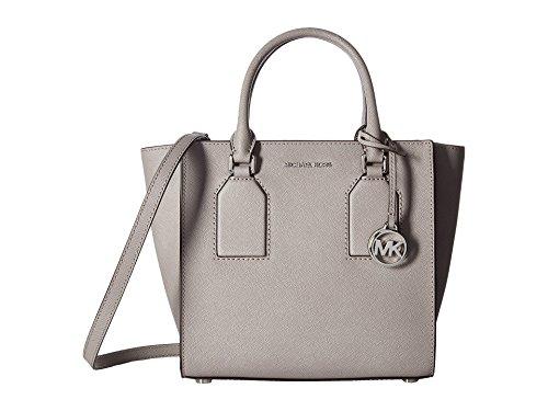 (Michael Kors Womens Selby Leather Textured Satchel Handbag Gray Medium)