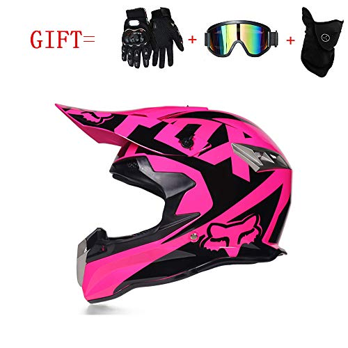 Adult and Child Motocross Helmet,MX Motorcycle D.O.T Certified Helmet ATV Scooter Road Racing Sport Gift Goggles Gloves Mask,Pink,S