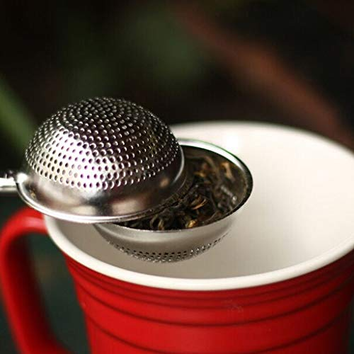 Leaf Filter Pulison Extra Fine Approved Stainless Steel Tea Infuser Mesh Strainer Water Filter with Large Capacity & Perfect Size Double Handles for Hanging on Teapots, Mugs, Cups